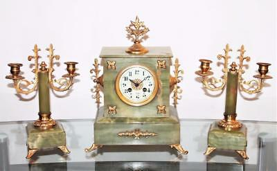 EXCELLENT ANTIQUE GREEN ONYX FRENCH CLOCK GARNITIRE TWIN CANDELABRAS C1890s