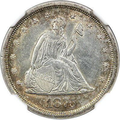 1875-S 20C NGC UNC Details - Improperly Cleaned