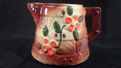 Prim 1950s Era American Bisque USA Pottery Butter Churn & Posies Milk Pitcher