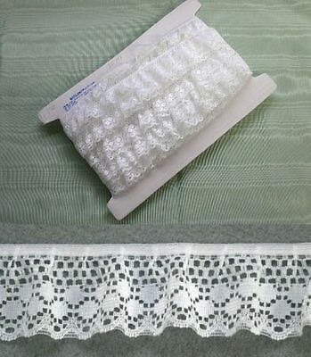 Gathered Lace White  10 metres  (170)
