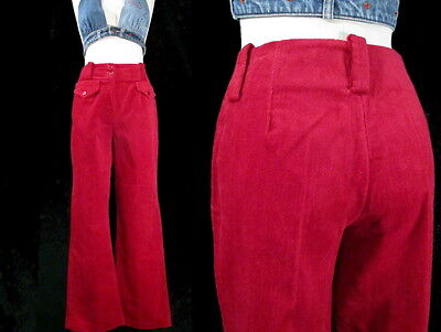 Vintage RASPBERRY RED BELL BOTTOMS 1960's 1970's Velour Corduroy Women's Pants