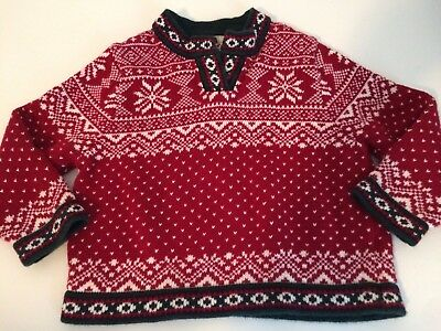 LL Bean Baby Toddler Winter Snowflake Holiday Pull Over Cotton Sweater 3T