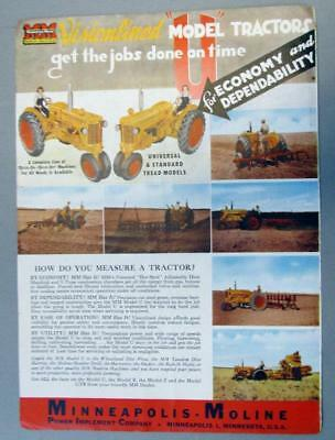 Orig 1948 Minneapolis Moline Model U Tractor Ad VISIONLINED .. GET THE JOB DONE