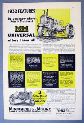 Original 1932 Minneapolis Moline Universal Ad 1932 FEATURES MM OFFERS THEM ALL