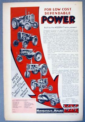 Orig 1936 Minneapolis Moline Tractor Ad THE LINE FOR LOW COST DEPENDABLE POWER