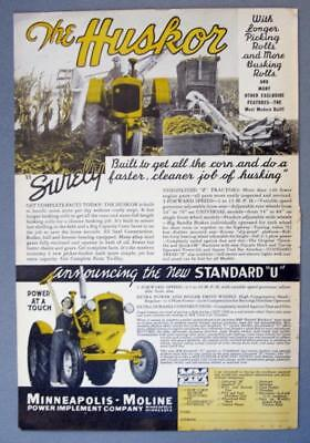 Original 1938 Minneapolis Moline Standard U Tractor Ad POWER AT A TOUCH