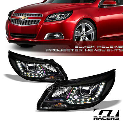 For 2013-2015 Chevy Malibu Drl Led Projector Headlights Signal Lamps Nb Black