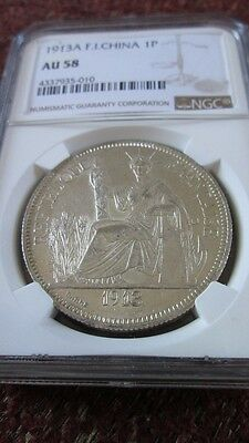 French Indochina 1 Piastre 1913A NGC AU 58