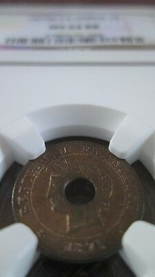 French Cochin China 1 Sapeque 1875K NGC MS 64 RB