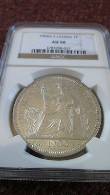 French Indochina 1 Piastre 1900A NGC AU 50