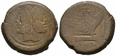 Ancient Rome 169-158 BC REPUBLIC Large AS JANUS PROW GALLEY.