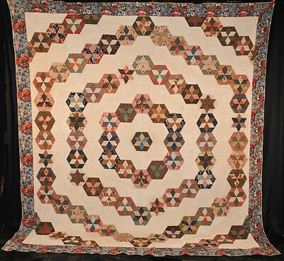RARE 1815 - 1840 QUILT PIECED STARS IN HEXAGONS BLOCK PRINTED FABRIC 101 x 91