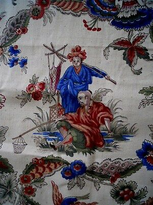 French vintage fabric cotton Chinese design musicians birds and fishermens 94""