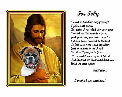 Boxer Memorial Picture w/Jesus/Poem Personalized w/Dog's Name-Pet-Loss Gift Idea