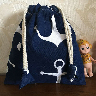 Cotton Canvas Drawstring Lining Multi-purpose Use Pouch Bag in Bag Anchor Blue B