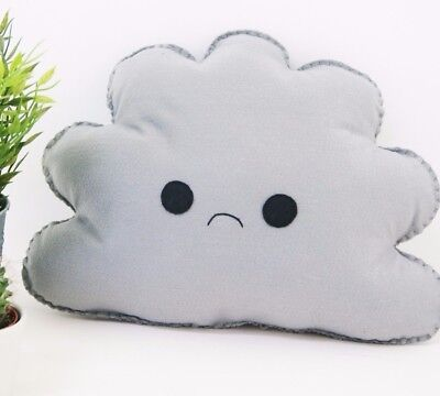 Grey Sad Cloud Shaped Cushion Plush Pillow Kids Room Baby Nursery Decor Gray