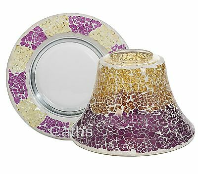 Purple & Gold Crackle Large Shade & Tray Yankee Candle