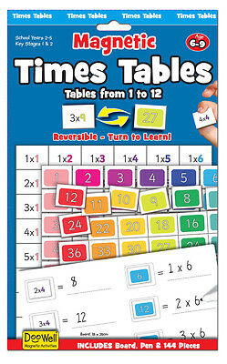 Learn the Times Tables 144 piece Magnetic Times Tables Set Suitable for Ages 6-9