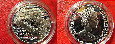 1993 Gibraltar Silver Proof 14 Ecu Tunnel-Train