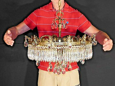 Massive French Regency Crystal Brass or Bronze Wedding Cake Chandelier