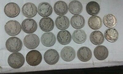 LOT of 26 -NO DATE BARBER QUARTER...MORE COINS TO COME.. VERY FADED OR DAMAGED