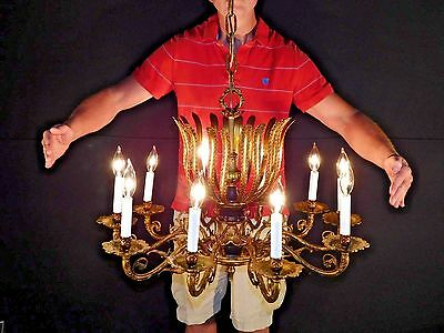 SPECTACULAR Antique French Empire Bronze 10 Arm 10 Lite Architectural Chandelier