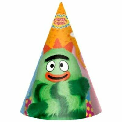 YO GABBA GABBA CONE HATS (8) ~ BIrthday Party Supplies Favors Nickelodeon Green