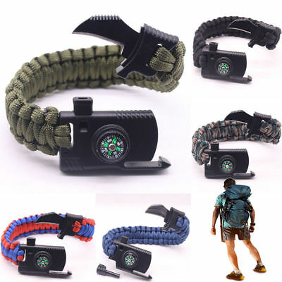 Paracord Bracelet Outdoor Multi Functional Flint Rope Camping Survival NEW