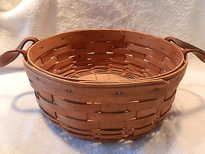 1991 LONGABERGER BASKET with LEATHER STRAP HANDLES