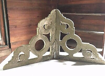 1890's Antique Pair Wood Corbels  Brackets  Gingerbread White  407-17