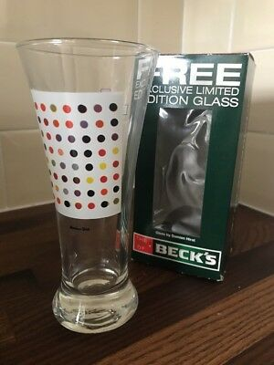 Damian Hurst Screen printed Spot Becks Limited Edition glass in original box