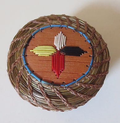 """3.5"""" -4 Directions Quill coiled sweetgrass medicine basket: Paul St.John-Mohawk"""