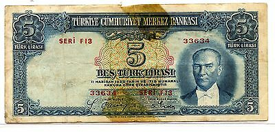 Turkey ~ 1938 ~ 5 Lira Note ~ Vf ~ Better Note!