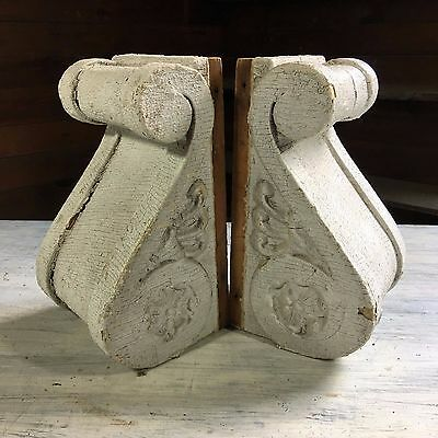 1890's Antique Pair(2) Wood Corbels Brackets Victorian Gingerbread White 412-17