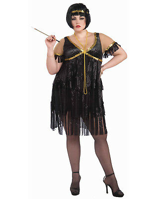 1920's Black Plus Size Fringe Adult Flapper Gatsby Dress Costume