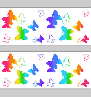 Silhouette Butterfly Wallpaper Border Rainbow Girl Wall Art Decals Room Stickers