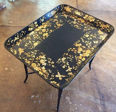 Antique English Regency Black Gold Paper Mache Tray on Stand Table London 1820