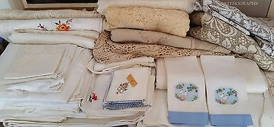 Huge Mixed LOT Collection of Embroidered and Antique Linens, 20 lbs