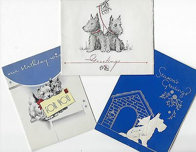 Vintage  Greeting Cards (3) * Scottie Scottish Terrier Dogs Scotty Christmas