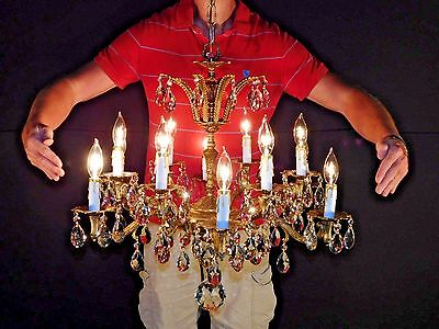Massive Antique 12 Arm 12 Lite French Lead Cut Crystal Brass Bronze Chandelier