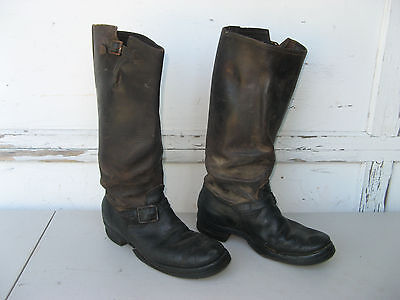 "1940s WARDS BLUE BAND ENGINEER BOOTS sz 8 TALL 17"" Motorcycle CATS PAW VINTAGE"