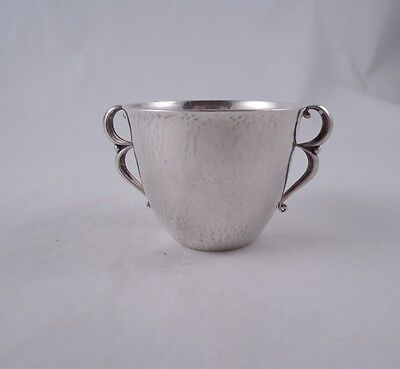 Georg Jensen Sterling 373A Double Handled Child's Baby Cup Hammered