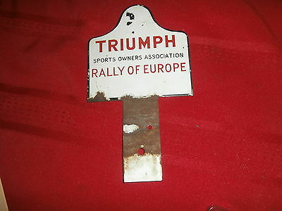 Porcelain Metal Sign Emblem Triumph Sports Owners Association Rally Of Europe