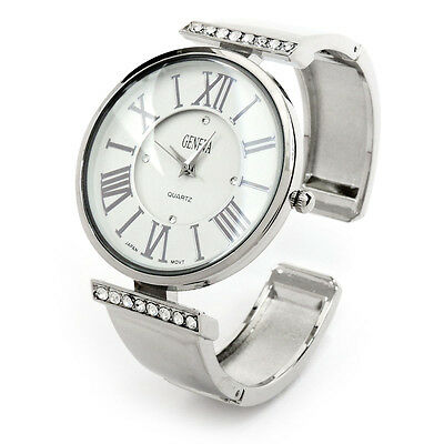 13fd123f8 Silver Metal Crystal Large Face Roman Numerals Women's Bangle Cuff Watch
