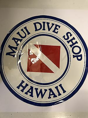 Vintage Maui Dive Shop Large Surfboard Sticker Truck Sticker Man Cave Hawaii