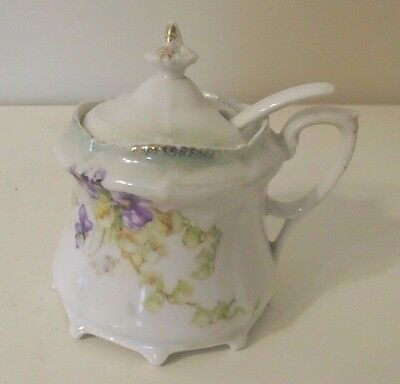 Early German Sugar Bowl And Spoon With Orchid Flowers