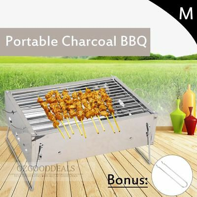 New Outdoor Camping Portable Small Charcoal Barbeque BBQ Grill Silver