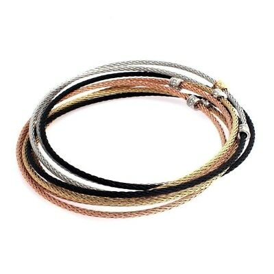 QVC Stainless Steel Multi-Cable Tri-Color Crystal Rolling Large Bracelet