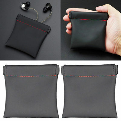 8.5*8cm Soft PU leather Carry Storage Case Bag Pouch for Earphone Earbud Headset
