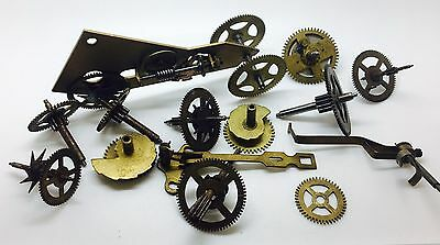 Steampunk Vintage clock parts wheels hand adapted car total weight 147.74 g
